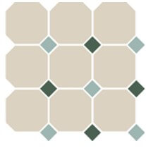 OCT13+18-A White OCTAGON 16/Turquoise 13 + Green 18 Dots 30x30